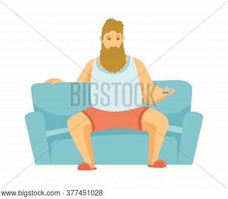 Home Leisure. Beard Man Sit On Sofa And Watch Tv. People Leisure Time. Staying At Home. Enjoyed Leis