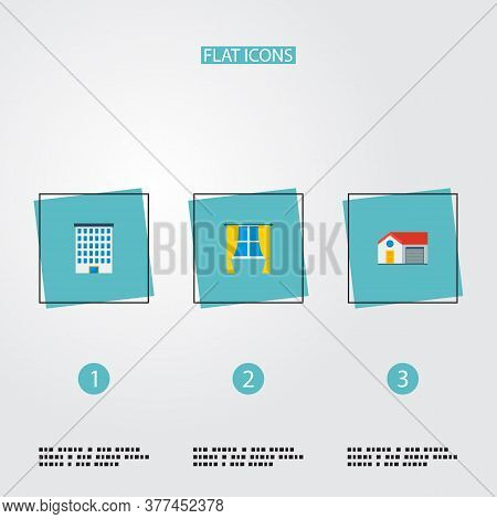 Set Of Realestate Icons Flat Style Symbols With Window, Building, House And Other Icons For Your Web