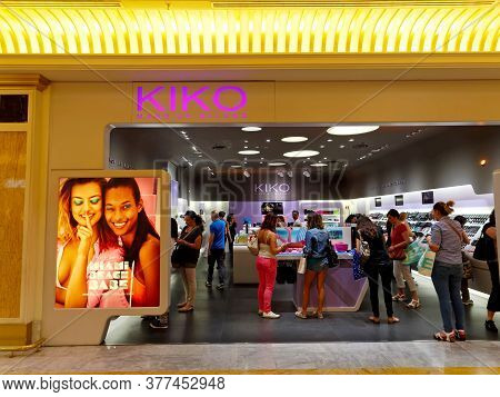 Rome, Italy - June 21, 2015. Kiko Milano Makeup Store In Rome, Italy With People Shopping. Kiko Mila