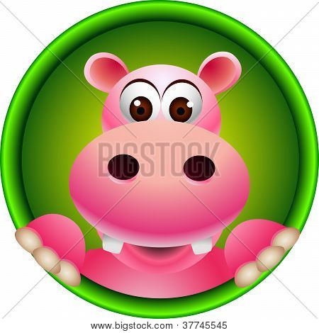 cute hippopotamus head cartoon