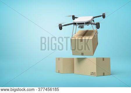 3d Rendering Of Camera Drone Delivering Cardboard Box On Top Of Two Other Boxes Standing On Light Bl