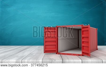 3d Rendering Of Open Empty Red Shipping Container On White Wooden Floor And Dark Turquoise Backgroun