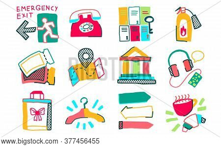 Museum Icon Doodle Naive Set Of Isolated Exhibit Items And Essential Elements Vector Illustration
