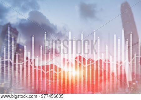 Histogram And Lines Economic Chart Of Financial Instrument On Modern Metropolis. Up And Down Arrows.