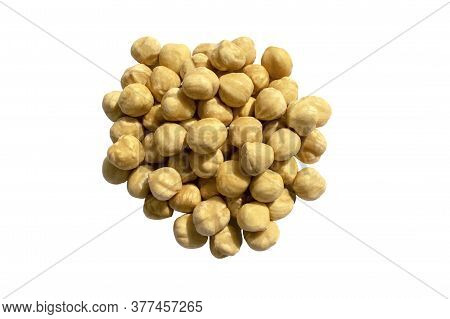 Hazelnut Nuts Isolated On White Background. Healthy Snack And Food. Top View. Roasted Hazelnuts Pile