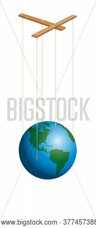 Earth Marionette. String Puppet With Control Bar. Symbol For Global Player, Business, Authority, Dom