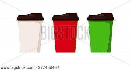 Coffee To Go Cup Set Isolated On White Background. White, Red, Green Disposable Plastic Paper Tablew