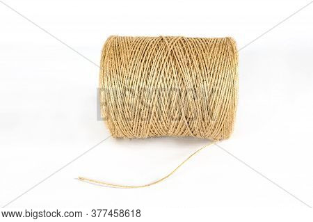 Hank Of A Hemp Rope Bobbin. Close-up Isolated On A White Background.