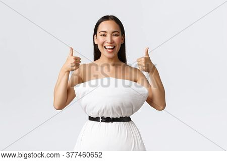 Beauty, Fashion And Social Media Concept. Happy Smiling Asian Woman Having Fun Participating In Inte