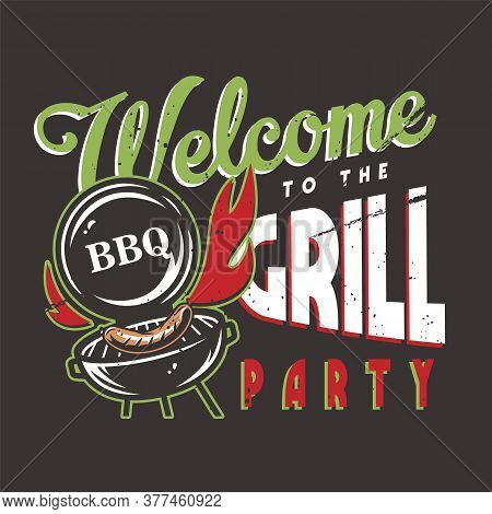 T-shirt Print With Barbeque Maker And Bbq Sausage