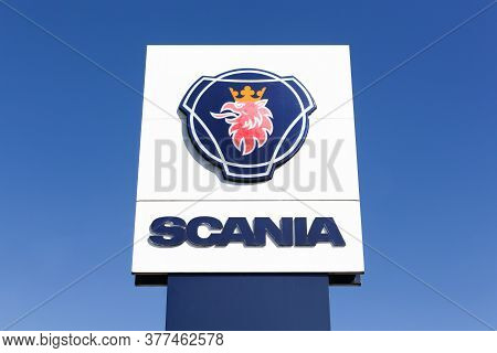 Amberieux, France - July 4, 2020: Scania Sign On A Pole. Scania Is A Major Swedish Automotive Indust