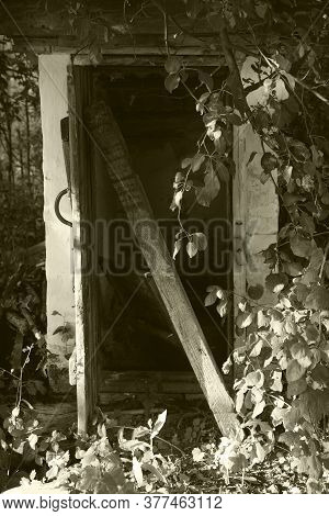 Old Half-abandoned Door To The Basement-cellar On The Farm, Black-and-white Photo, Sepia.