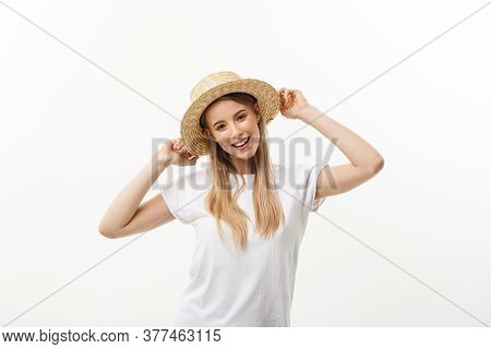 Happiness. Happy Summer Woman Isolated In Studio. Energetic Fresh Portrait Of Young Woman Excited Ch