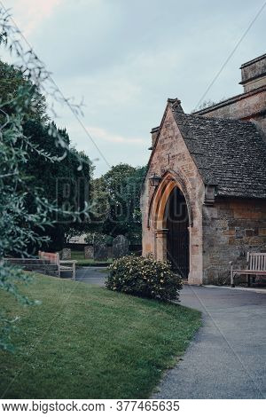 Stow-on-the-wold, Uk - July 6, 2020: Entrance Of St Edwards Church, A Medieval-built Church Of Engla