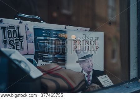 Stow-on-the-wold, Uk - July 6, 2020: The Wicked Wit Of Prince Philip Book On A Window Display Of A S