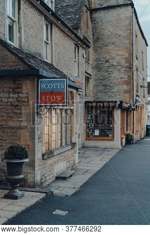 Stow-on-the-wold, Uk - July 6, 2020: Sign Outside Scotts Of Stow Shop In Stow-on-the-wold, A Market