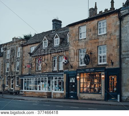 Stow-on-the-wold, Uk - July 6, 2020: Row Of Closed Shops In Stow-on-the-wold, A Market Town In Cotsw