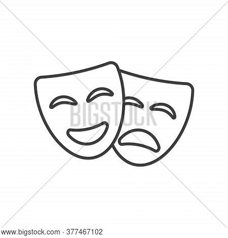 Theatre Mask Icon Silhouette. Theatre Drama Comedy Vector Icon, Actor Acting Logo