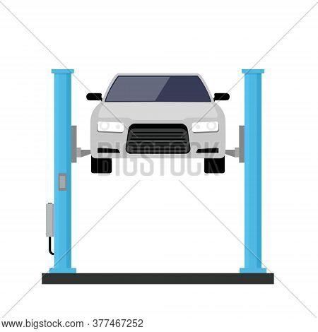 Car Repair Lift Service. Mechanic Flat Car Lift Auto Service
