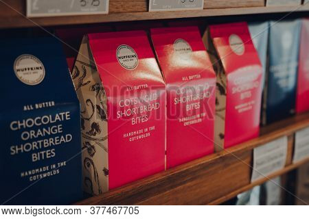 Stow-on-the-wold, Uk - July 6, 2020: Cotswold Shortbread On Sale In Huffkins Cafe In Cotswolds, An A