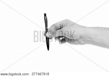 Pen A Contract. Ballpoint Pen Isolated On White. Ball Pen In Male Hand. Office Stationery. Pen And I