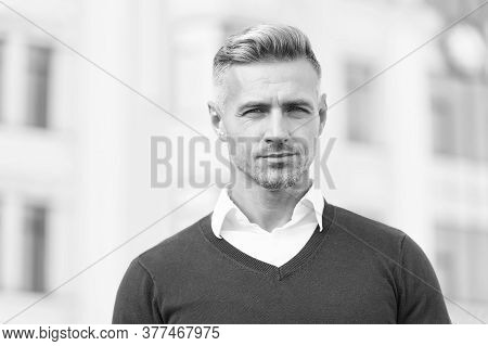 Used To Look Perfect. Success And Charisma. Man With Bristle On Unshaven Face. Street Style. Autumn
