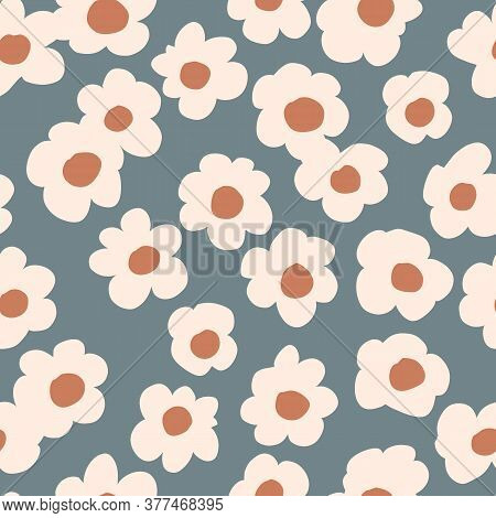 Seamless Background Gender Neutral Baby Floral Pattern. Simple Whimsical Minimal Earthy 2 Tone Color