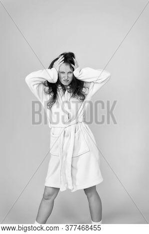 Terrible Headache. Hard Morning. Girl Sleepy Face. Insomnia Effects. Sleepy Woman Sleep Disorders. D