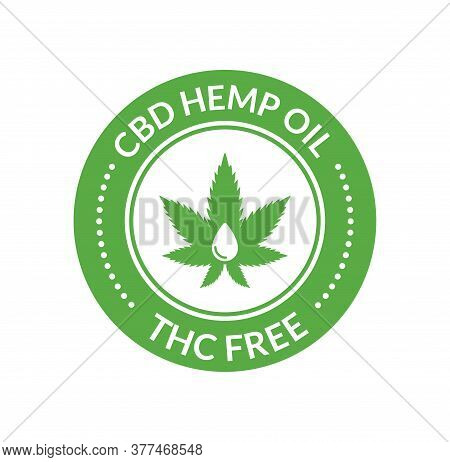 Cbd Hemp Oil Logo. Thc Free Medical Hemp Cannabis Oil Icon