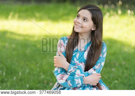 Vacation Care. Happy Child Enjoy Summer Outdoor. Small Girl In Summer Style. Summer Vacation. Leisur
