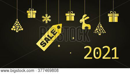 2021 Christmas New Year Sale. Golden Greeting Card. Holiday Hanging Toys Christmas Tree, Gift Boxes,