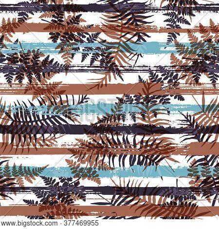 Modern New Zealand Fern Frond And Bracken Grass Overlaying Stripes Vector Seamless Pattern. Polynesi