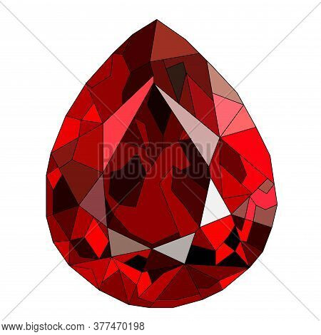 Red Or Burgundy Ruby Gem Stone Isolated On White Background. Vector Illustration.