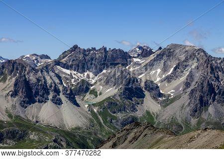 The Little Storm Lake (lac De La Petite Tempête - 2833m) Hidden Between Rocky Mountains Close To Mon