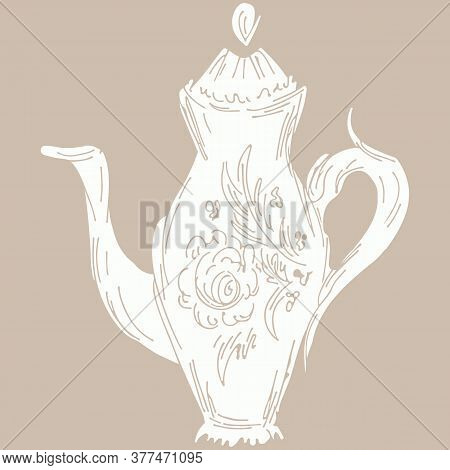 Hand Drawn Tea Kettle Illustration In Engraving Style For Menu Or Cafe.vector Arab Coffee Pot. Antiq