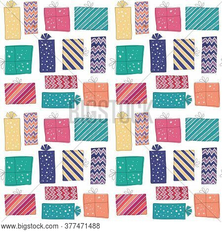 Cute Party Presents Seamless Pattern. Paper-wrapped Gifts With Ribbons And Bows In Fun And Colorful