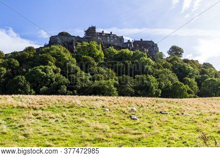 Stirling, Scotland  - September 17 2019: Stirling Castle Sit-in Atop Castle Hill One Of The Largest