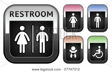 Restroom symbol, metallic button
