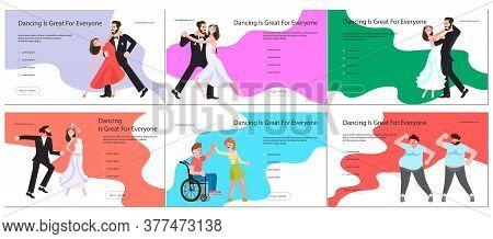 Promotional Banner, Brochure, Or Greeting Card, Invitation Poster For Dance Studio. Party Flyers Set