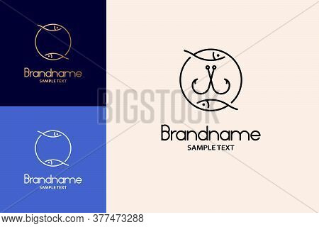 Fishhook Logo Hand Drawn Design Concept, Double Fish Logo.