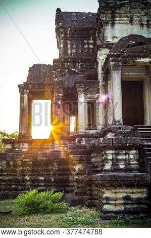 Angkor Wat Sunrise Buddhist Temple In Cambodia, Khmer Empire Siem Reap Southeast Asia