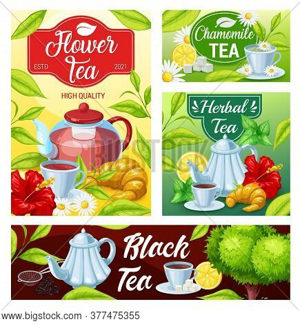 Tea Cup And Teapot Of Black, Green And Herbal Beverage Vector Banners. Green Tea Leaves And Mugs Of