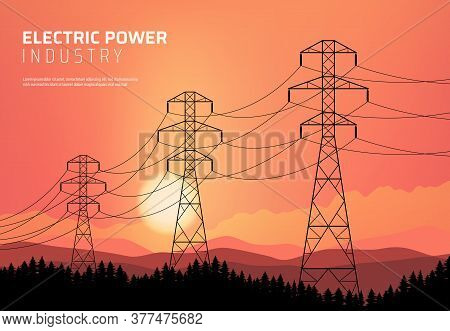 Energetics, Power Transmission Line, Electric Industry Vector Poster. Transmission High Voltage Towe
