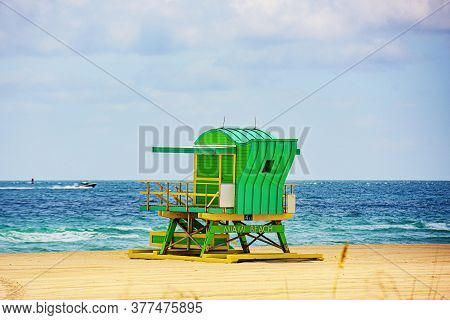 Miami Beach Lifeguard Stand In The Florida Sunshine. Miami Beach, Florida