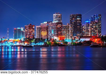 Miami, Florida, Usa Skyline On Biscayne Bay, City Night Backgrounds. Miami Skyscrapers At The Night,