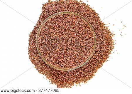 Rai Seed (whole Rai), Mustard Seed In Bowl Isolated On White