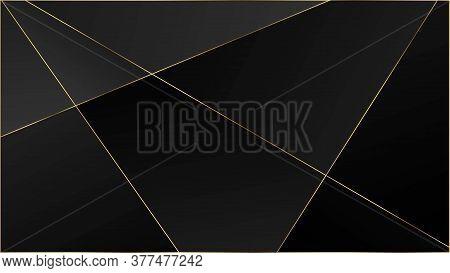 Black Luxury Polygon Pattern. Gold Lines Triangular Premium Border. Elegant Dark Platinum Chic Shape