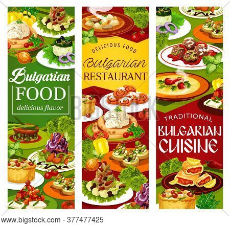 Bulgarian Cuisine Vegetable And Meat Food Vector Banners. Salads And Soups With Yogurt, Cucumber, Ca