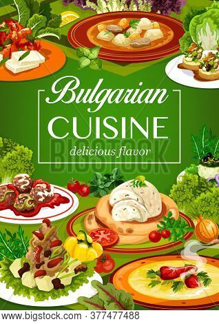 Bulgarian Cuisine Vegetable And Meat Food. Vector Pepper Tomato Chutney Lutenitsa With Bryndza Chees