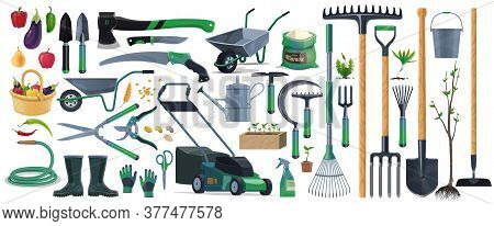 Garden Tools And Equipment Cartoon Set Of Vector Agriculture, Farming And Gardening Design. Spade, R